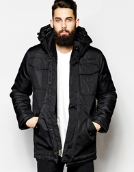 G Star Hooded Parka Jackets Swat Heavy Lined Black