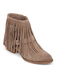 Bcbgeneration Capricorn Suede Fringe Booties Taupe