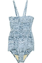 Herve Leger Printed Bandage Swimsuit Sky Blue