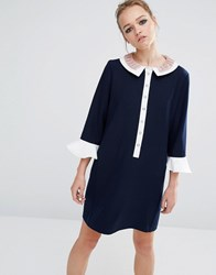 Sister Jane Ruffle Collar Dress Navy