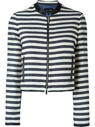 Armani Jeans Striped Cropped Jacket Blue