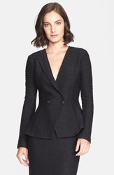 St. John Sparkle Double Breasted Tweed Knit Jacket Caviar