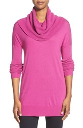 Petite Women's Caslon Side Slit Cowl Neck Tunic Pink Wild Aster