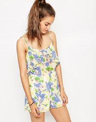 Daisy Street Playsuit In Floral Print Floral Multi