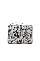 Lanvin Large Silhouette Print Pouch In White Black Abstract