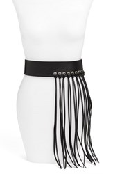 Steve Madden Women's Steven By Fringe Faux Leather Stretch Belt