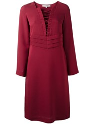 Iro Laced V Neck Dress Red