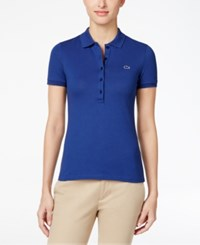 Lacoste Five Button Slim Fit Polo Waterfall Blue
