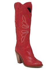 Jessica Simpson Caralee Leather Cowgirl Boots Red
