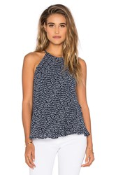 Bella Dahl Key Hole Bias Halter Top Navy