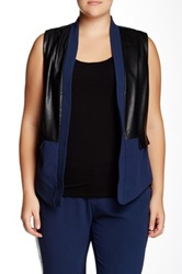 Mynt 1792 Faux Leather Panel Vest Plus Size Blue