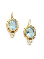 Temple St. Clair Classic Color Aquamarine Diamond And 18K Yellow Gold Oval Drop Earrings
