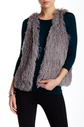 Hip Fuzzy Faux Fur Vest Gray