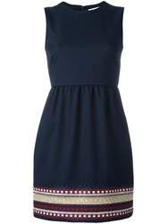 Red Valentino Trim Detailing Flared Dress Blue