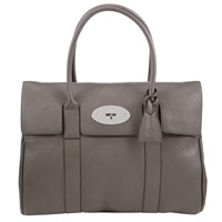 Mulberry Bayswater Small Leather Grab Bag Mole Grey
