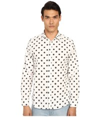 Love Moschino Peace Sign Printed Woven Shirt White Black Men's Long Sleeve Button Up