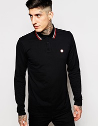 Pretty Green Polo Shirt With Tipping Long Sleeves Black