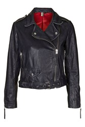Topshop Distressed Belted Leather Jacket Black