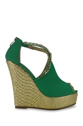 Red Kiss Gold Couture Platform Wedge Green