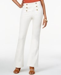 In Awe Of You By Awesomenesstv Juniors' High Waisted Flare Leg Military Pants White