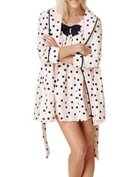 Kate Spade Polka Dot Flannel Short Robe Pink