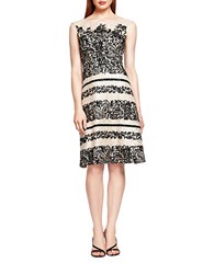 Kay Unger Foiled Lace Illusion Dress Black Nude