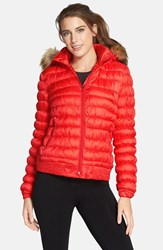 Women's Merrell 'Silversun' Featherless Water Resistant Puffer Jacket With Faux Fur Trim Hood