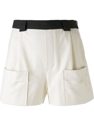Band Of Outsiders Contrast Waist Shorts Nude And Neutrals
