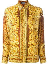 Versace Vintage Baroque Print Shirt Yellow And Orange