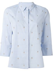 Equipment Embroidered Pineapple Shirt Blue