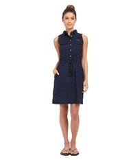 Columbia Super Bonehead Ii Sleeveless Dress Collegiate Navy Printed Polka Dot Women's Dress