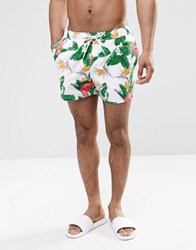 Asos Swim Shorts With Digital Floral In Short Length White Black