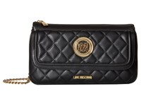 Love Moschino Long Classic Quilted Crossbody Bag Black