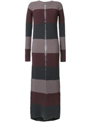 Rick Owens Striped Knitted Dress Brown