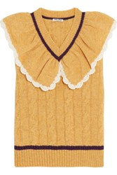 Miu Miu Ruffled Collar Cable Knit Wool Sweater Mustard