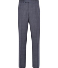 Austin Reed Check Slim Fit Suit Trousers Blue