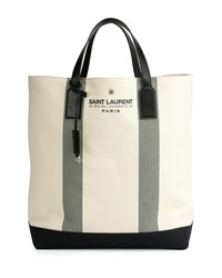 Logo Print Beach Tote Bag Cream Ivory Women's Saint Laurent