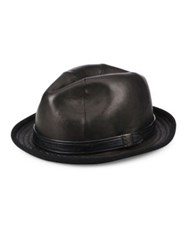 John Varvatos Band Accented Leather Fedora Black