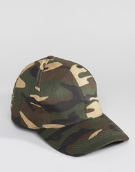 New Look Camo Baseball Cap With Curved Peak In Green Khaki