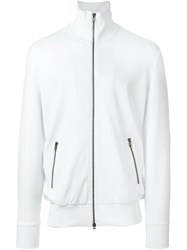 Y 3 Three Stripe High Collar Zip Up Jacket White