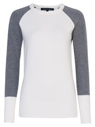 French Connection Babysoft Colour Block Crew Winter White Grey Mel