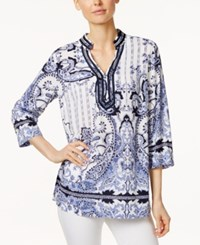 Charter Club Paisley Print Tunic Only At Macy's Bright White Combo
