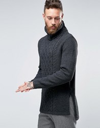Asos Cable Knit Jumper With Chunky Roll Neck And Side Splits Grey