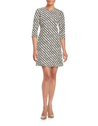 Taylor Textured Shift Dress Cream Black