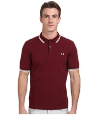 Slim Fit Twin Tipped Fred Perry Polo Port Ecru Men's Short Sleeve Knit Brown