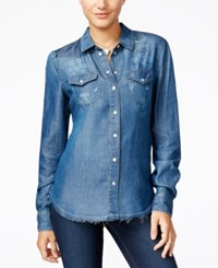 Jessica Simpson Pixie Ripped Chambray Shirt Med Blue