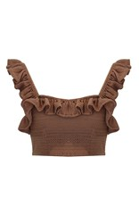 Mochi Tuda Knit Ruffle Crop Top Tan
