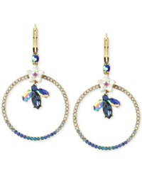 Betsey Johnson Gold Tone Crystal Bug And Flowers Gypsy Pave Hoop Earrings