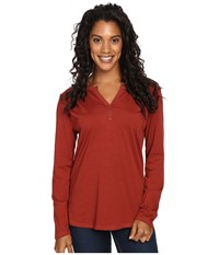 Royal Robbins Go Everywhere Henley Ruby Women's Long Sleeve Pullover Red
