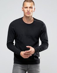 Jack And Jones Zipped Shoulder Detail Jumper Black